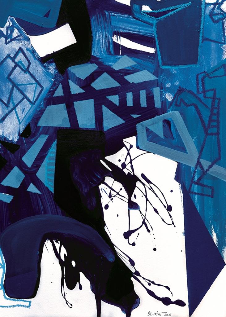 DELFINI CORRADO-Senza titolo 13, 2019 series Urban Landscape, Tecnica mista su carta 50x70